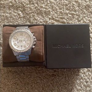 Michael Kors silver watch with crystal bezel